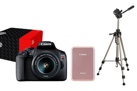 Combo Câmera EOS T7+ Reembalada com Tripé e Mini Impressora