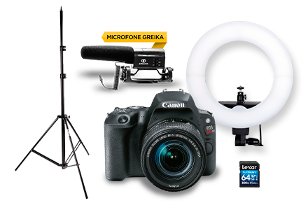 Combo Câmera EOS SL2 Youtuber com Microfone e Ring Light