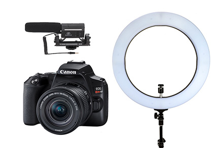 Combo Câmera SL3 Youtuber com Microfone e Ring Light