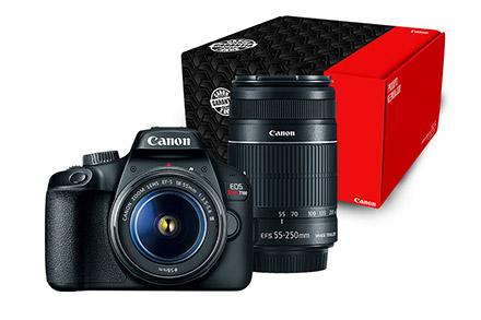 Câmera EOS Rebel T100 Premium Kit com Lente EF-S 18-55mm + EF-S 55-250mm (Reembalado)