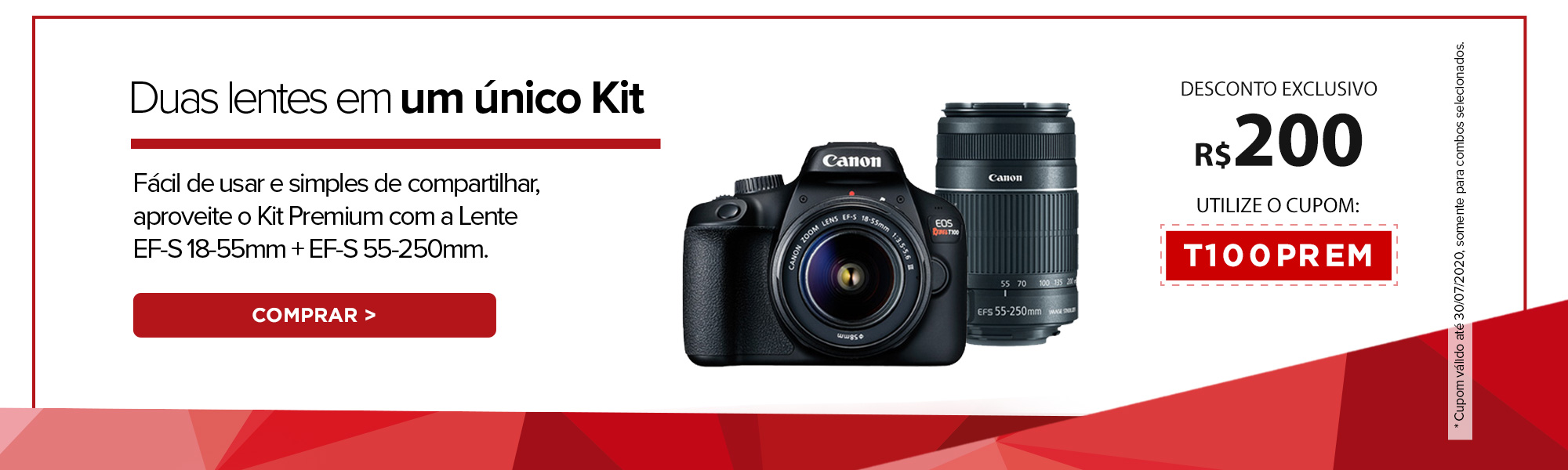 Duas lentes em um único Kit. Fácil de usar e simples de compartilhar, aproveite o Kit Premium com a Lente EF-S 18-55mm + EF-S 55-250mm