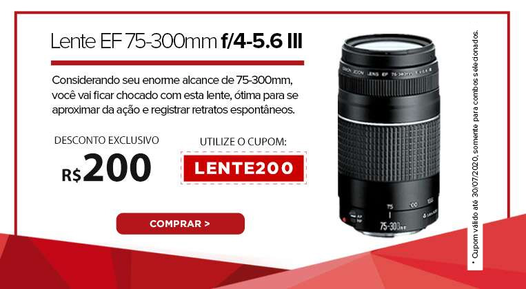 Lente EF 75-300mm f/4-5.6 III. Considerando seu enorme alcance de 75-300mm, você vai ficar chocado com esta lente, ótima para se aproximar da ação e registrar retratos espontâneos.