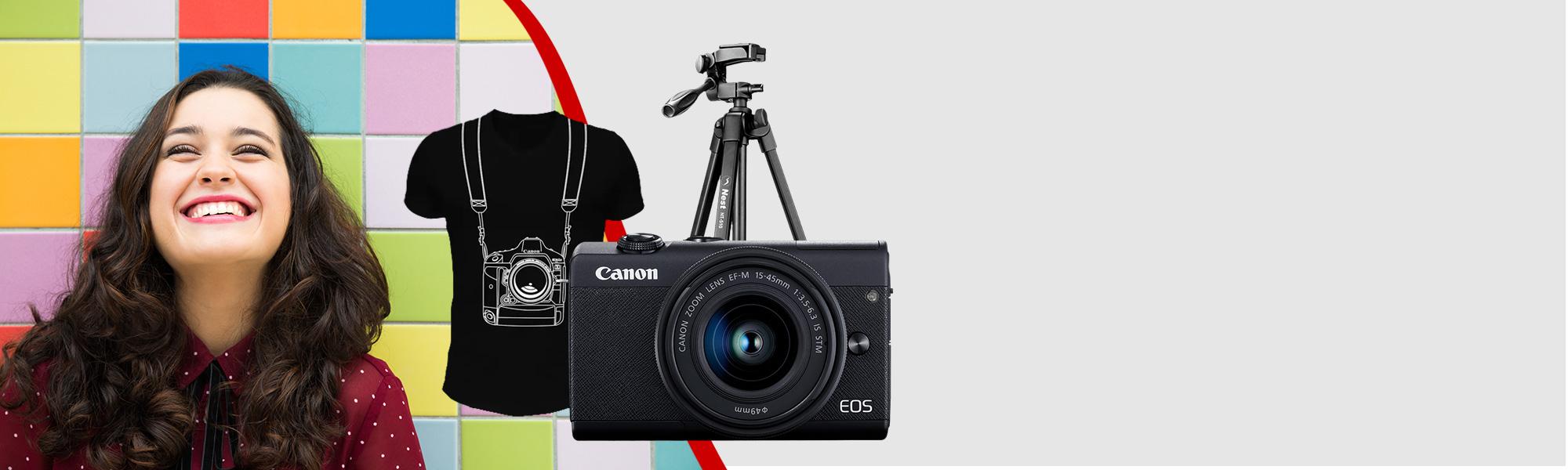 Combo Câmera EOS M200 com Tripé e Camiseta