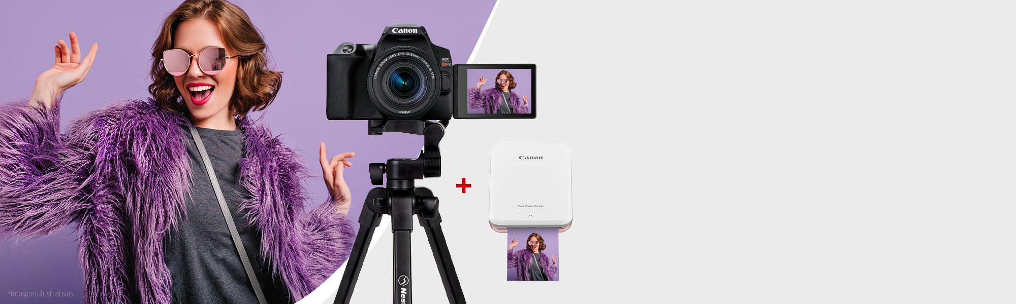 Combo Câmera EOS SL3 com Tripé e Mini Impressora