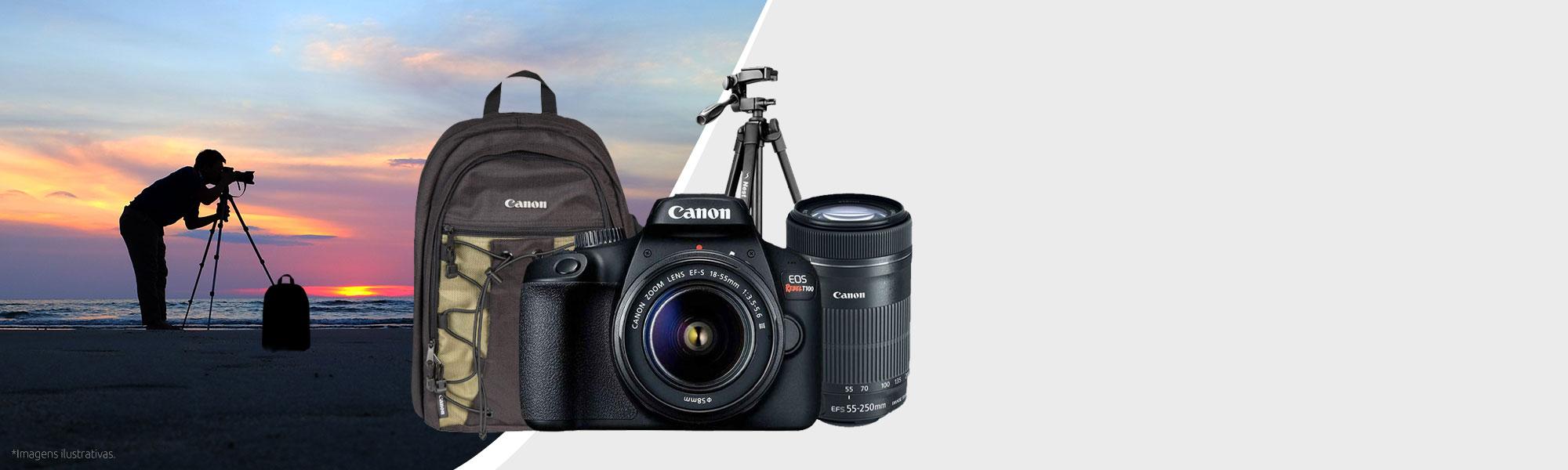 Combo Câmera EOS T100 Premium com Tripé e Mochila
