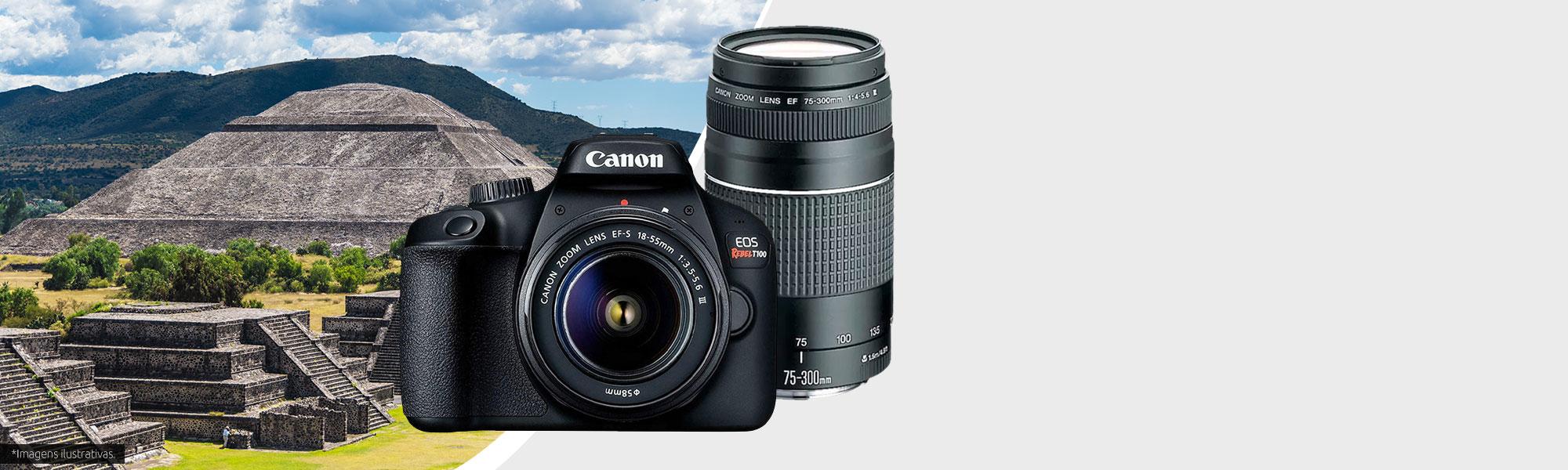 Combo Câmera EOS T100 Viajante com Lente EF-S 18-55mm + EF 75-300mm