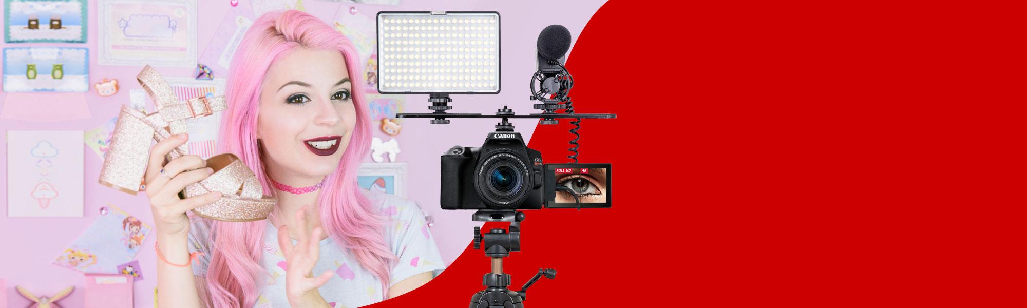 Combo Vídeo Câmera SL3 com Iluminador LED e Tripé e Microfone Reembalado – Novo