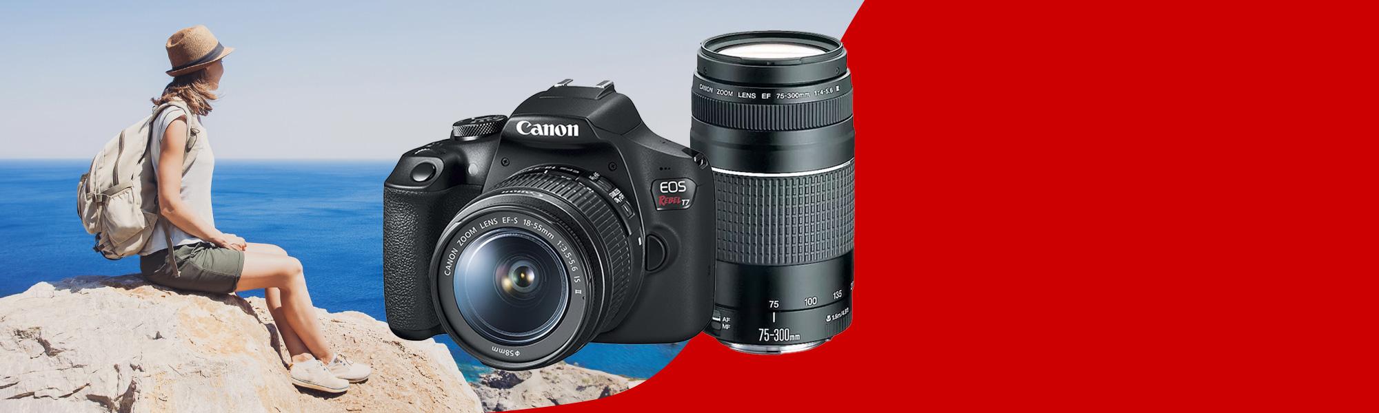 Combo Câmera EOS T7+ Reembalada Viajante com Lente EF-S 18-55mm + EF 75-300mm - Novo