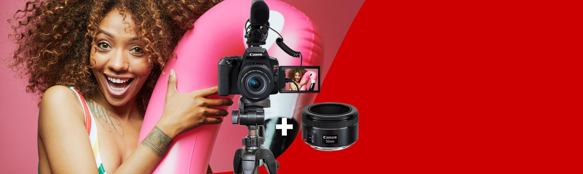 Combo Câmera SL3 Youtuber com Lente EF 50mm + Microfone + Tripé Reembalado