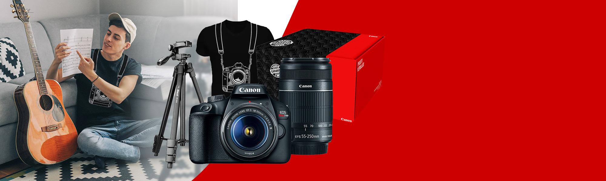 Combo Câmera EOS T100 Premium com Tripé e Camiseta