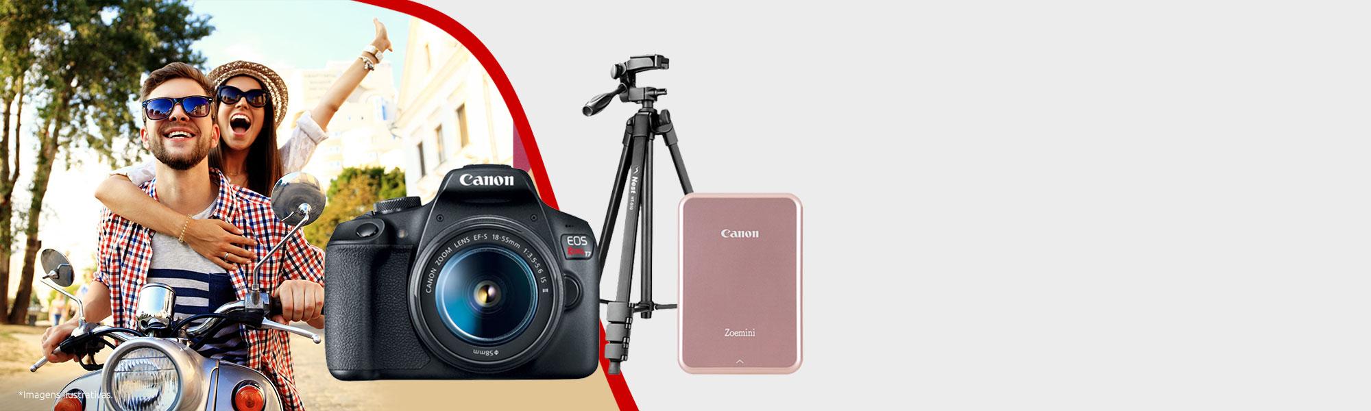 Combo Câmera EOS T7+ com Tripé e Mini Impressora