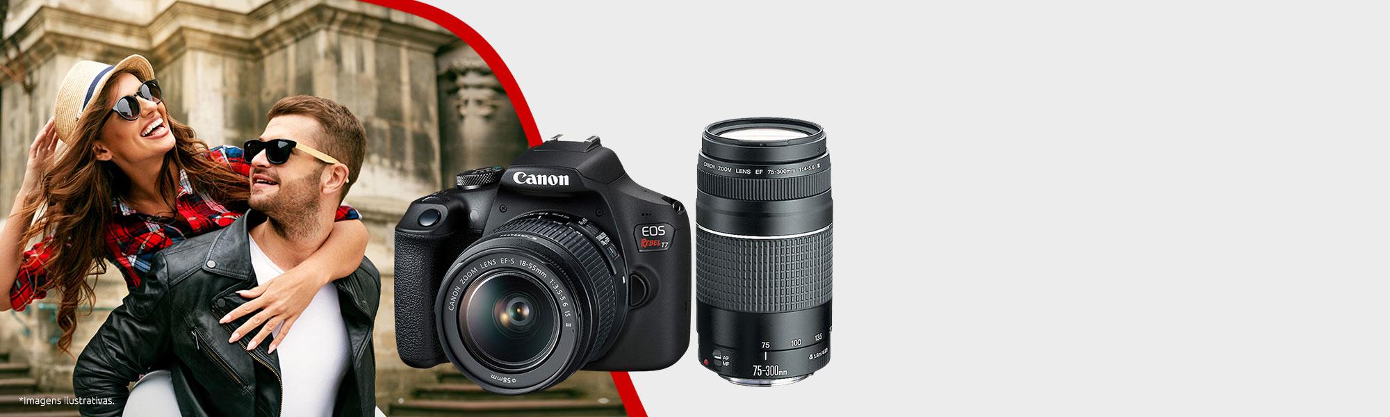 Combo Câmera EOS T7+ Viajante com Lente EF-S 18-55mm + EF 75-300mm