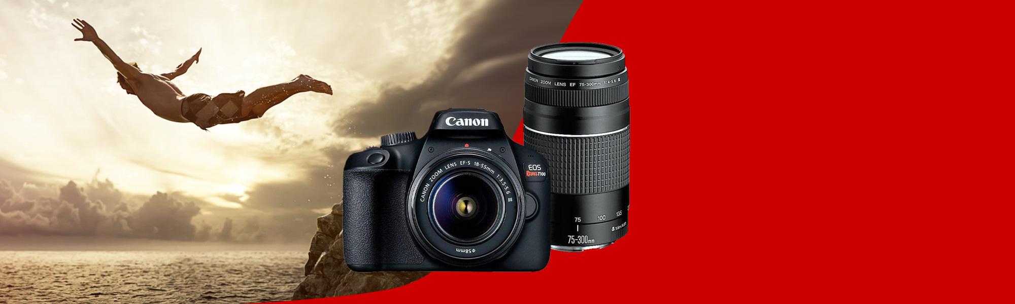 Combo Câmera EOS T100 Reembalada Viajante com Lente EF-S 18-55mm + EF 75-300mm - Novo
